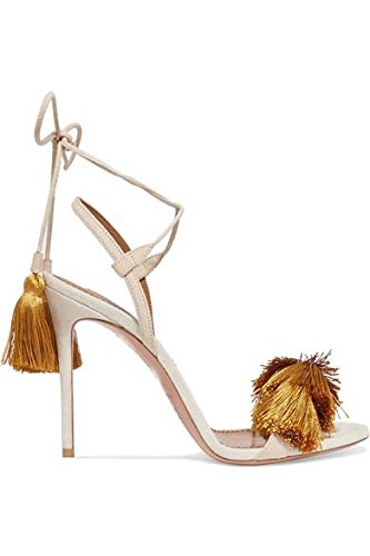 De tiras sandalias de tacón alto son simples sandalias de la borla del color de la correa Yellow