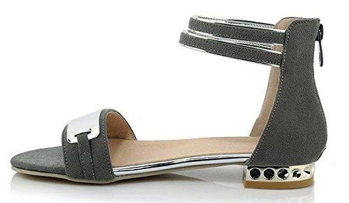 Talon Confort Bloc Aisun Zip Basse Bout Ouvert Femme Mode Gris Sandales 6tHUEwqExa