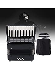 22‑Key 8 Bass Accordion, Professional Black Solid Wood Engineering Accordion Mini Kids Accordio Musical Instruments for Children Kids Toddlers Beginners