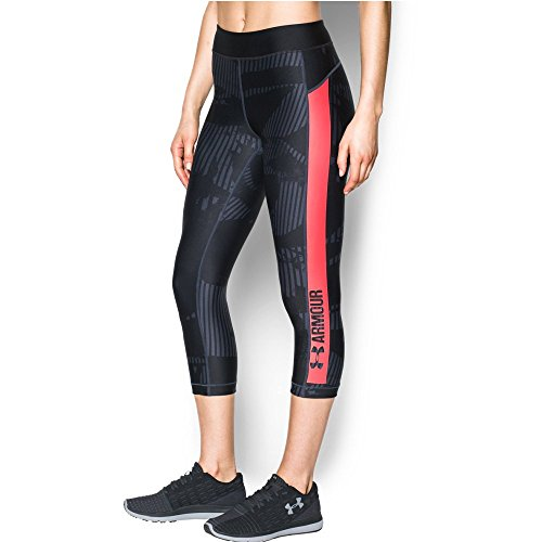 Under Armour Women's HeatGear Armour Printed Graphic Capris, Stealth Gray/Marathon Red, Small