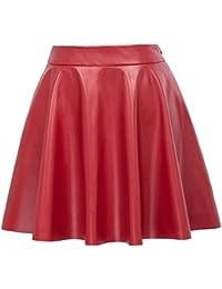 Women's Basic Solid Versatile Leather Flared Casual Mini Skater Skirt KK519