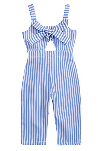 YOUNGER TREE Kids Toddler Baby Girls Summer Romper Outfit Stripe Overall Bodysuit Jumpsuit Cropped Trousers Clothes Blue]()