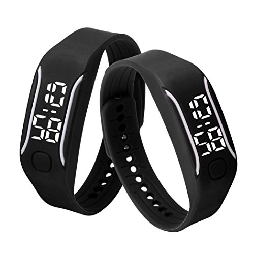 Malltop LED Watch, Unisex Rubber Bracelet Water Resistant Touch Screen White Light Digital Display Sports Wrist Watch