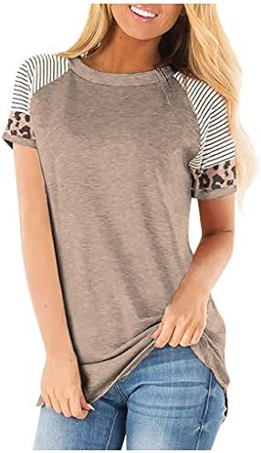 Yxiuexur Womens Summer Tops Casual Leopard Stripe Short Sleeve Tunic Color Block Round Neck T Shirt Blouse