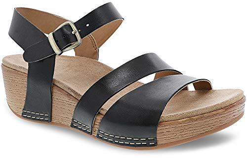 Dansko New Women's Lindsay Ankle Strap Sandal Black Burnished Calf 37 ()