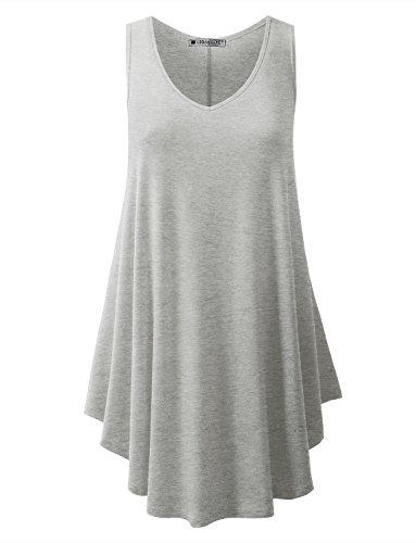 URBANCLEO Womens V-Neck Sleeveless Tunic Top T-Shirt Dress Hgray ()