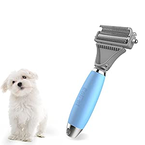 Pet Grooming Tool-ColPet Dematting Comb and Grooming Rake with Dual Sided, Adjustable Angle, Silicon Handle Safely and Easily Removes Matted Tangles and Flying Hair for Cats & Dogs, Light Blue/Blue