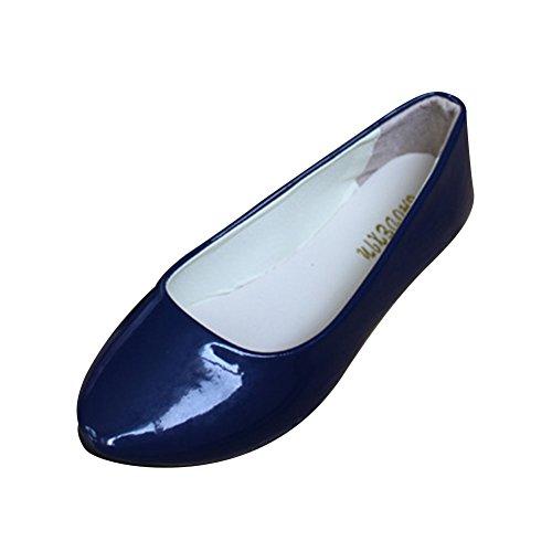 Nero Pelle Artificiale In Donna Ballerine Blu Scarpe Brillante Stagione Basse Estiva zqwTUaEx