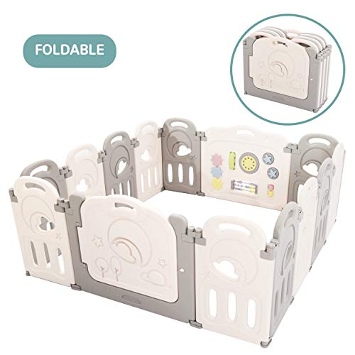 Cloud Castle Foldable Playpen by Classy Kiddie, Baby Safety Play Yard with Whiteboard and Activity Wall, Indoors or Outdoors 14 Panel