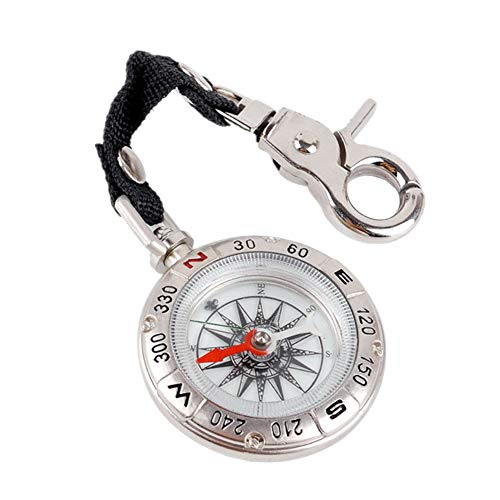 Unisex Compass Key Chain Vintage Style Solid Pocket Compass Keychain Compass for Outdoor Camping Hiking