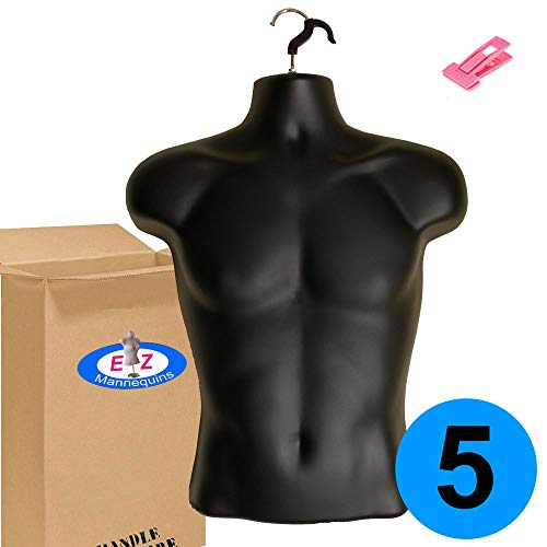 5-Pack Male Mannequin Torso, Dress Form Hollow Back Body or T Shirt Display, for Hanging by EZ-Mannequins for Craft Shows, Photos or Design, Easy to Use and Store, for Small - Medium Sizes