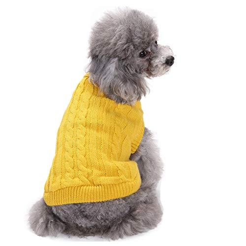 (CHBORCHICEN Small Dog Sweater Pet Dog Knitted Sweater Winter Warm Puppy Clothes Classic Doggie Sweatershirt (Medium,Yellow))