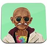 Mahatma Gandhi wooden coaster - Pop art Modern Contemporary Decorative Art coaster, Hipstory Project by Amit Shimoni Illustration