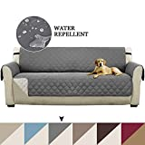 Pet Friendly Plush Reversible Furniture Sofa Protector with Elastic Straps Features to Prevent Stains/Protect from Pets, Spills, Wear and Tear (Oversize Sofa Cover: Gray/Beige)-86' x 132'