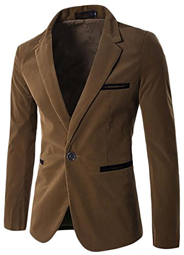 Long UK today Blazer Block Suit Color Sleeve Corduroy Lapel Mens Khaki 4fxwC