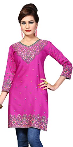 Indian Tunic Top Womens Kurti Printed Blouse India Clothing – Small, L 148