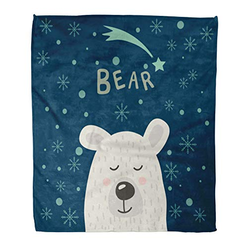 Emvency Throw Blanket Warm Cozy Print Flannel Christmas of Polar Bear Snowflakes and Stars for Dishes Children Comfortable Soft for Bed Sofa and Couch 50x60 Inches