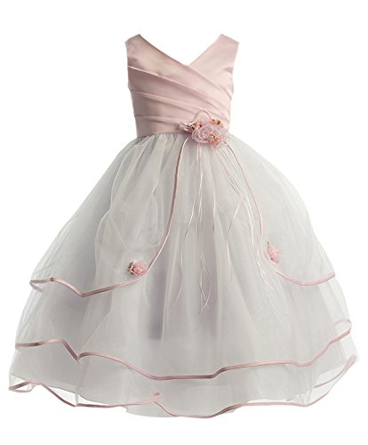 iGirlDress Pink/White Sleeveless Satin Bodice with Triple Tulle Layers Flower Girl Dress 2-16 (15-16)