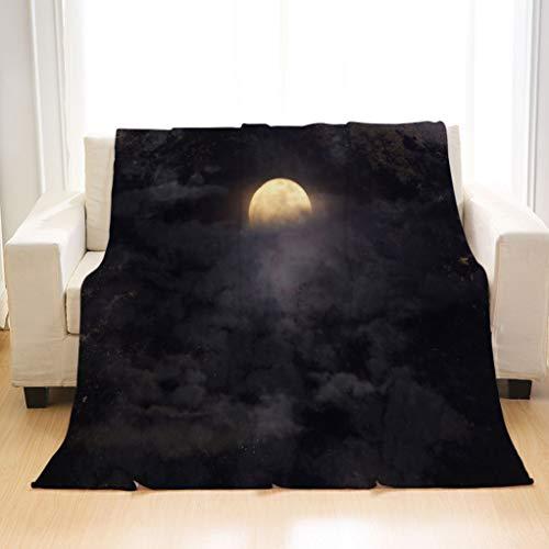 BEIVIVI Custom Luxury All Season Blanket Abstract Night Sky with Full Moon for Halloween Background Artistic Blankets for Living Room Sofa Bedding Travel Blankets]()