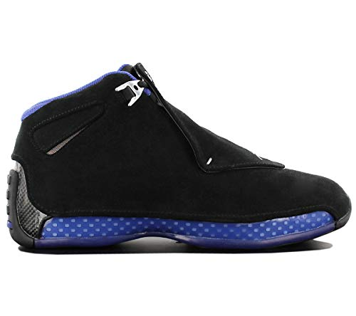 - Jordan Nike Men's Air 18 Retro Black/Metallic Silver-Sport Royal AA2494-007 (Size: 10.5)