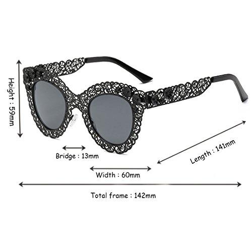 Trend Eye Trend Yefree sol de Gafas Frame de decorativas Gafas Gafas Sunglasses sol retro de Gris Cat Oscuro sol dSqwYBq