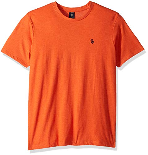 U.S. Polo Assn. Men's Crew Neck Small Pony T-Shirt, Boca Orange Heather, M