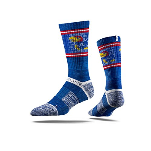 Strideline NCAA Kansas University Jayhawks Premium Athletic Crew Socks, Blue/Red, One - Athletics Kansas Jayhawks