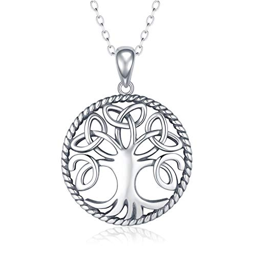 (Apotie 925 Silver Jewelry Antique Celtic Knot Tree of Life Drop Hook Earrings Pendant Necklace for Women Girls (Necklace))