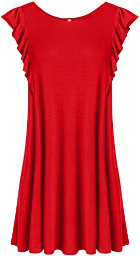 Red Sleeveless Tank Tunic Top for Women Flowy Swing Tank Tunic Reg and Plus Size (Size Small, Red Side Ruffle) ()