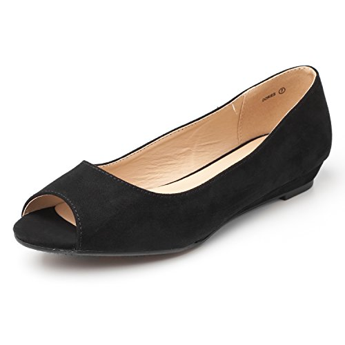 DREAM PAIRS Women's Dories Black Suede Low Wedge Peep Toe Flats Shoes Size 9 M ()