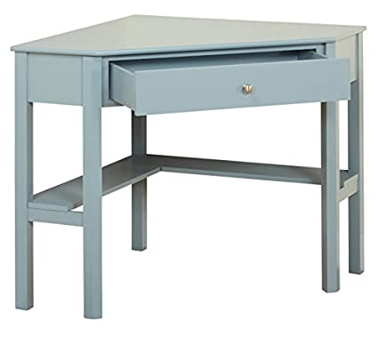 Target Marketing Systems Ellen Corner Desk with One Drawer and One Storage Shelf Inc DROP SHIP 84007GRY