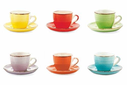 Villa d'Este Home Tivoli 2371741 Baita Set of 6 Coffee Cups with Saucer, Stones, Multicoloured, No, 6 ()