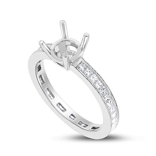 0.84 Ct. Natural Diamond Princess Cut Eternity Semi Mount Setting 18k White Gold
