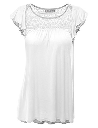 Doublju Loose Fit Ruffle Cap Sleeve Lace Blouse Top (Plus size available) WHITE LARGE (Lace Top Blouse Ruffles)