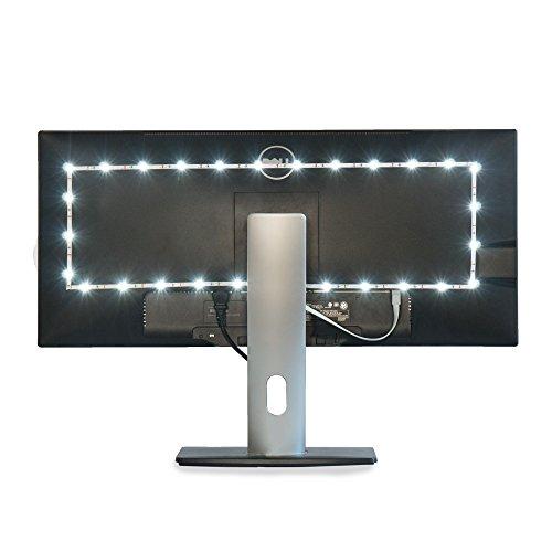 Luminoodle TV Bias Lighting - Small - USB LED Light Strip - Computer Monitor Backlight - True White Adhesive Strip