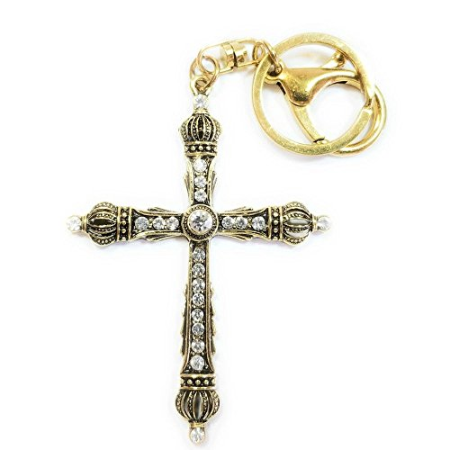 Get Charm Well (Teri's Boutique Fashion Religious Antique Vintage Design Cross Rhinestone Style Charm Keychain (Gold))