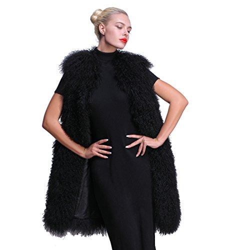 URSFUR Women Winter Real Mongolian Lamb Fur Vest Black XL