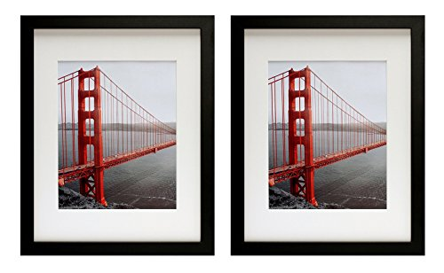 Frametory, Set of Two 11x14 Black Picture Frame - Made to Display Pictures 8x10 Photo with Ivory Color Mat - Wide Molding - Preinstalled Wall Mounting Hardware (11x14, Set of 2, Black)