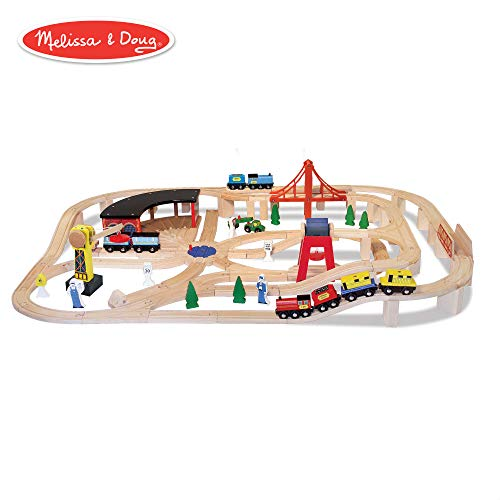 Deluxe Wooden Train Set - Melissa & Doug Wooden Railway Set, Vehicles, Construction, 130 Pieces, 17