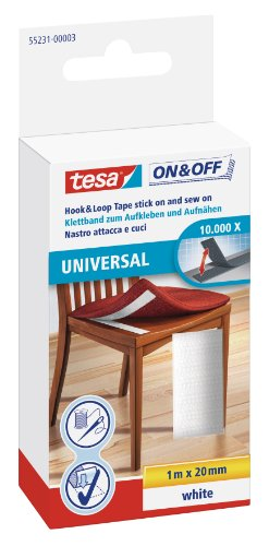 Tesa On and Off General Purpose Stick On Velcro – 100cm x 20mm, Black