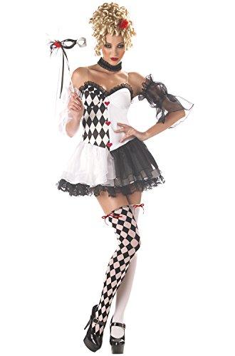 California Costumes Women's Le Belle Harlequin Costume, Black/White, Medium ()