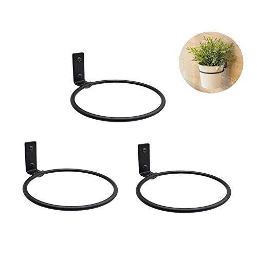 (3 Packs Black Metal Wall Mounted Flower Pot Ring Wall Bracket Pot Holder (L))