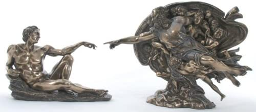 Creation of Man Statue God and Adam Set Bronze Finishing Resin Figurine