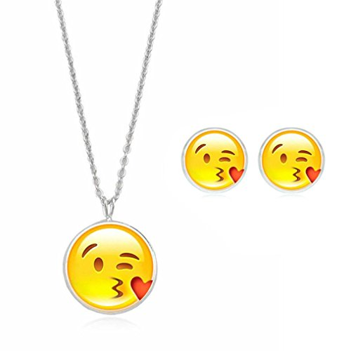 Emoji Necklace, Botrong Cute Emoji Art Picture Pendant Statement Chain Necklace Stud Earrings Jewelry Set (B)