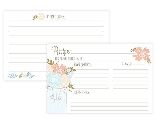 ipe Cards (Set of 50) 4 x 6 Double Sided Cards (Bridal Shower Recipe Cards)