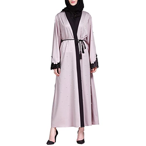 Islamic Muslim Women Full Sleeve Clothing Lace Splicing Long Coat Middle East Long Robe (M) by Conina (Image #1)
