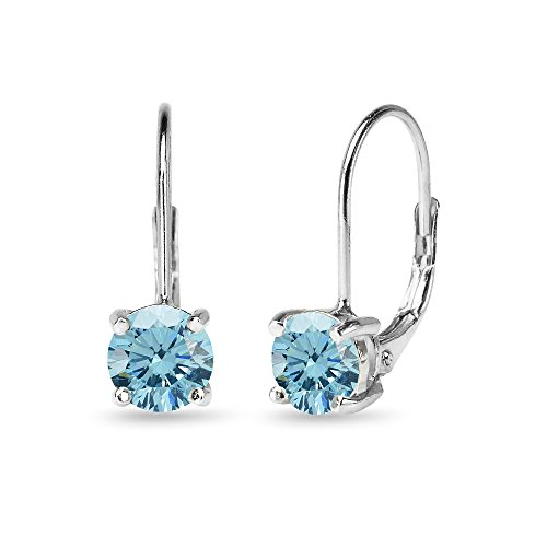 (Sterling Silver Light Blue Round-cut Leverback Earrings Made with Swarovski Crystals)
