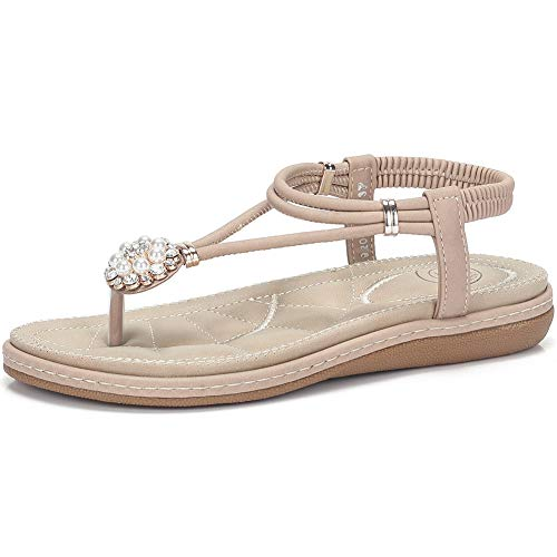 CAMEL CROWN Women's T Strap Flat Sandals Comfortable Thong Sandals with Pearl Buckle Jeweled Slingback Sandals with Low Wedge Beige