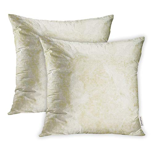 Marble Cream Beige - Emvency Set of 2 Throw Pillow Covers Print Polyester Zippered Tan Cream Light Marble Beige Color Stone Pillowcase 16x16 Square Decor for Home Bed Couch Sofa