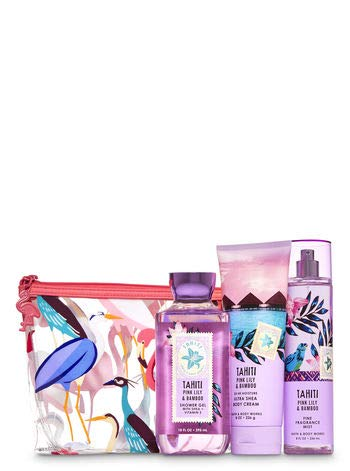 Bath and Body Works TAHITI PINK LILLY & BAMBOO Cosmetic Bag Gift Set - Shower Gel - Ultra Shea Body Cream & Fine Fragrance Mist - Full Size